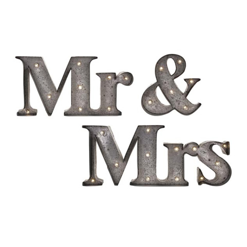 IMAX Worldwide Home - Mr. & Mrs. Lighted Sign - Set of 3 - 65357-3