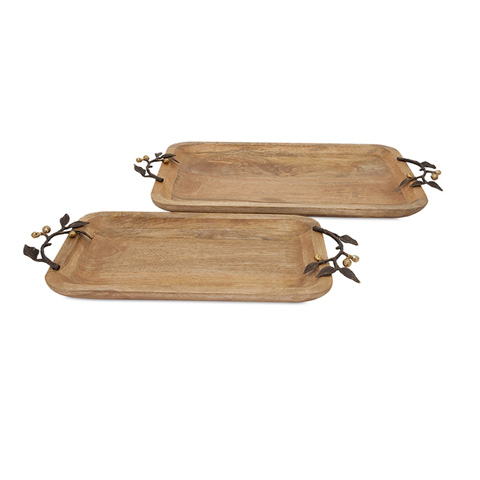IMAX Worldwide Home - Victoria Trays with Brass Handles - Set of 2 - 71755-2
