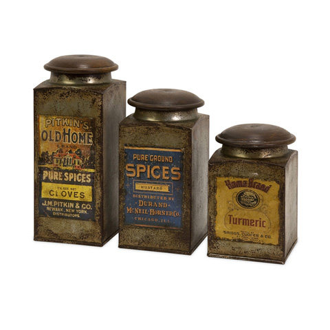 IMAX Worldwide Home - Vintage Label Wood And Metal Canisters - Set of 3 - 73046-3