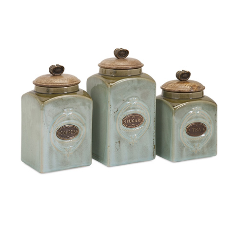IMAX Worldwide Home - Addison Ceramic Canisters - Set of 3 - 73327-3