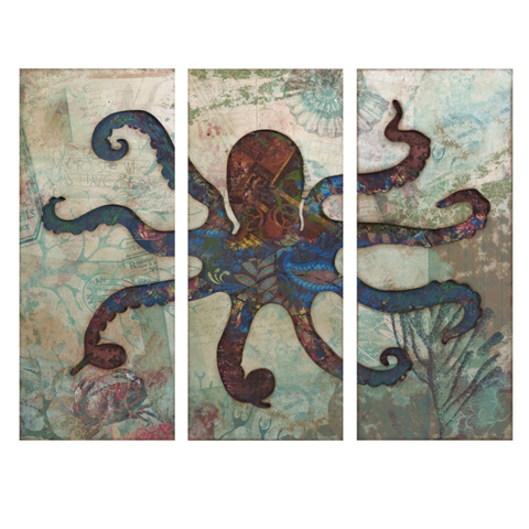 IMAX Worldwide Home - Splash Tryptych Octopus - 74237