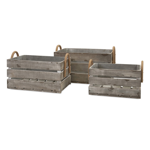 IMAX Worldwide Home - Cassie Wood Crates - Set of 3 - 86523-3