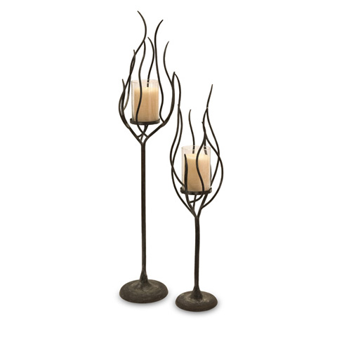 IMAX Worldwide Home - Anemone Candleholders - Set of 2 - 56334-2
