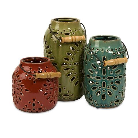 IMAX Worldwide Home - Luna Ceramic Lanterns - Set of 3 - 69253-3