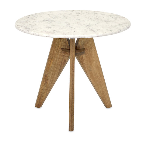 IMAX Worldwide Home - Febe Tall Marble and Wood End Table - 73415
