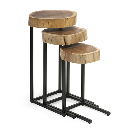 IMAX Worldwide Home - Nadera Wood and Iron Nesting Tables - Set of 3 - 89205-3