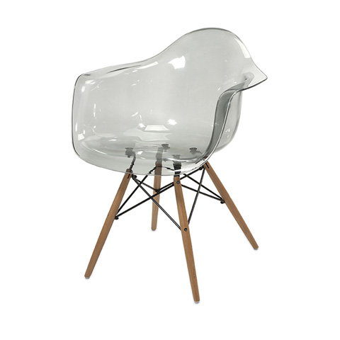 IMAX Worldwide Home - Beckett Grey Transparent Chair with Wood Leg - 89524
