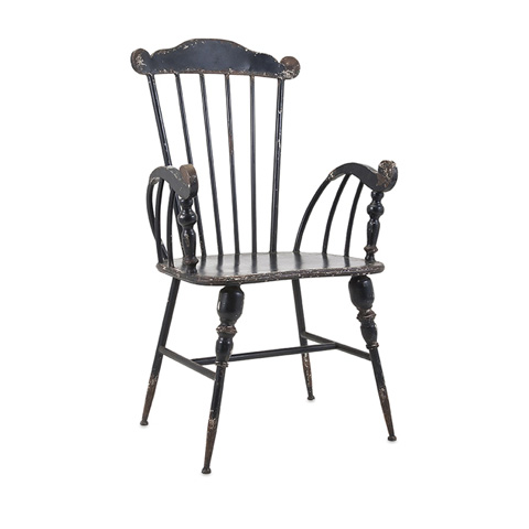 IMAX Worldwide Home - Trenton Black Metal Arm Chair - 89635