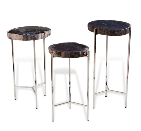 Interlude Home - Banten Petrified Wood Drink Table - 158066