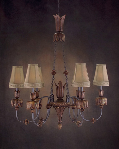 John Richard Collection - Six Light Hand Carved Wood Chandelier - AJC-8501