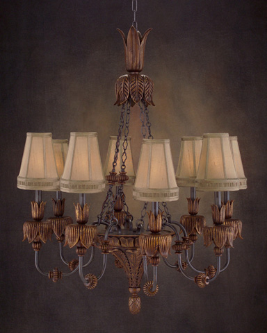 John Richard Collection - Eight Light Hand Carved Wood Chandelier - AJC-8503
