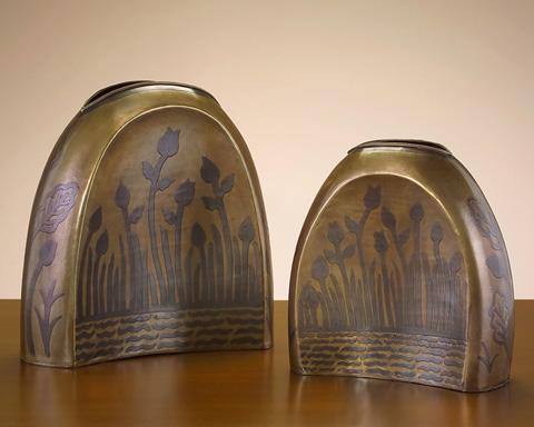 John Richard Collection - Brass Engraved Vase Set - JRA-6988S2