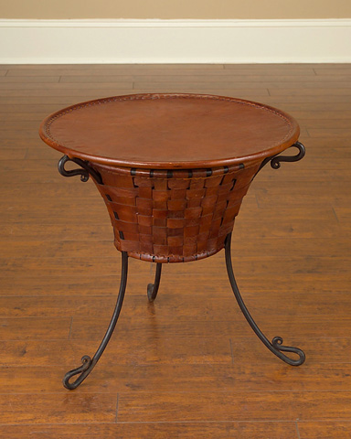 John Richard Collection - Braided Leather Chairside Table - JRA-7698