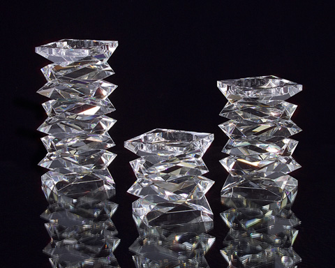 John Richard Collection - Stacked Crystal Candle Holder - JRA-8285