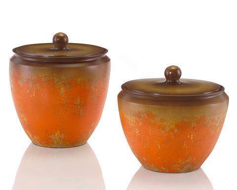 John Richard Collection - Orange Crackle Cachepot - JRA-8538