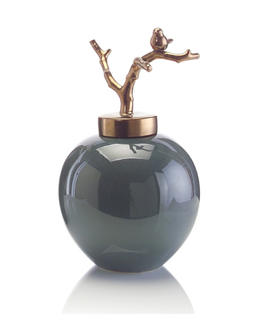 John Richard Collection - Short Jar with Twig Lid - JRA-8694