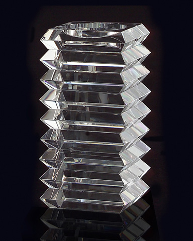 John Richard Collection - Stacked Optical Glass Candle Stand - JRA-8707