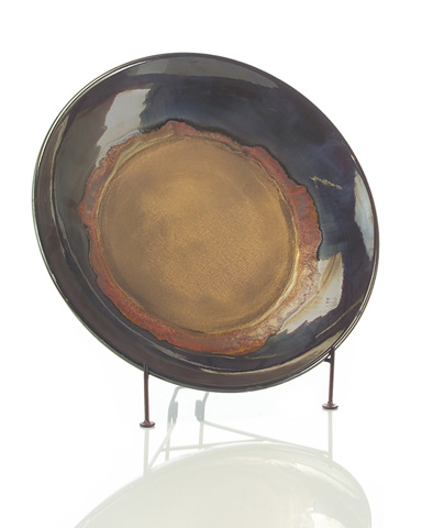 John Richard Collection - Indian Red and Metal Brown Charger - JRA-8738