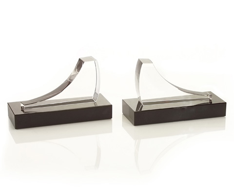 John Richard Collection - Quotation Black and Crystal Bookends - JRA-8900