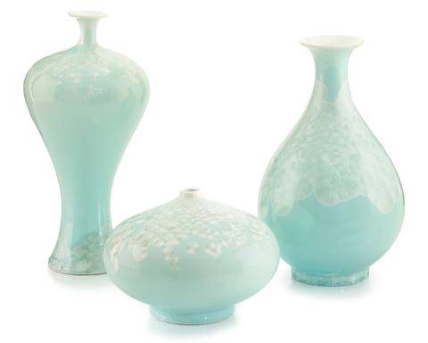 John Richard Collection - Swirling Leaves Aqua Vases - JRA-9013S3