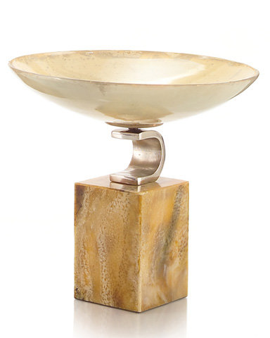 John Richard Collection - Short Nickel and Glass Compote - JRA-9059