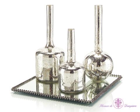 John Richard Collection - Mercury Glass Bottles on Plateau - JRA-9200S4