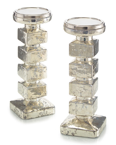 John Richard Collection - Stacked Cubes Mercury Glass Candle Stand - JRA-9272S2