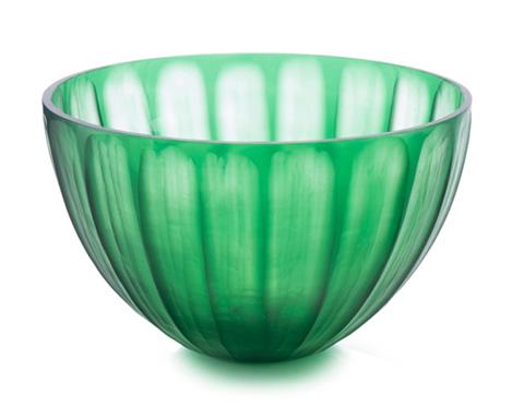 John Richard Collection - Pumpkin Cut Emerald Glass Bowl - JRA-9358