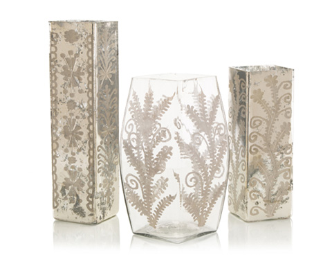 John Richard Collection - Etched Mercury Glass Vases - JRA-9371S3