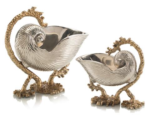 John Richard Collection - Nickel Nautilus Shell on Stands - JRA-9401S2
