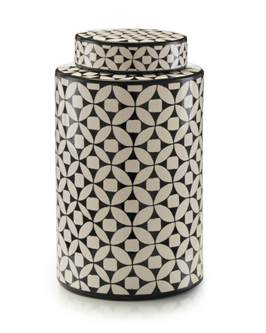 John Richard Collection - Geometric Black and White Ceramic Jar - JRA-9429