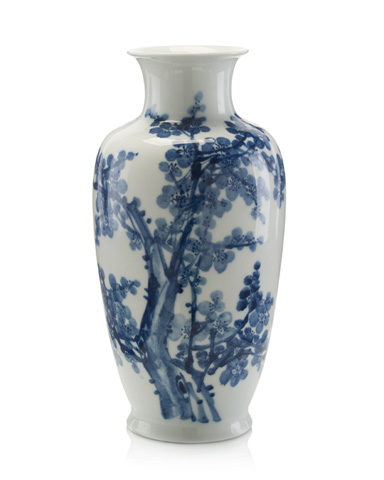 John Richard Collection - Blue and White Wide Mouth Vase - JRA-9442