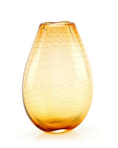 John Richard Collection - Bubbles in Amber Art Glass Vase - JRA-9538