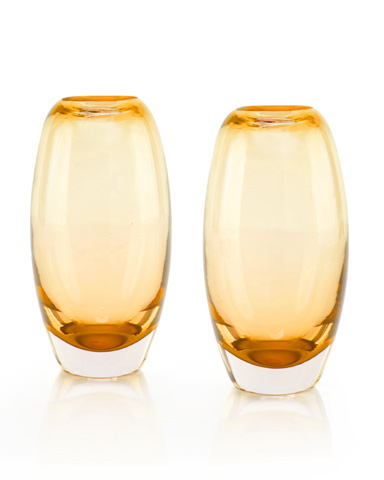 John Richard Collection - Amber and Clear Glass Vase - JRA-9546S2