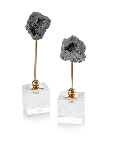John Richard Collection - Silver Geodes on Crystal Cubes - JRA-9887S2