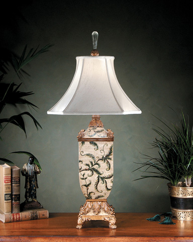 John Richard Collection - Leaves on Antique White Lamp - JRL-6469
