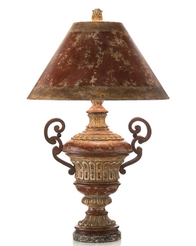 John Richard Collection - Red Crusted Iron Arms Lamp - JRL-7997