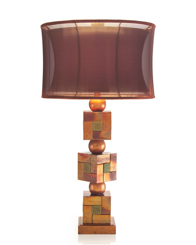 John Richard Collection - Patina Copper Basket Weave Squares Lamp - JRL-8832