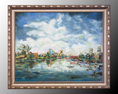 John Richard Collection - Village Along the River - JRO-1399