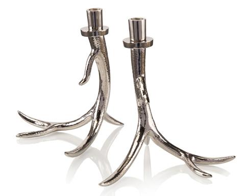 John Richard Collection - Set Of 2 Silver Antler  Candleholder - JRA-9938S2