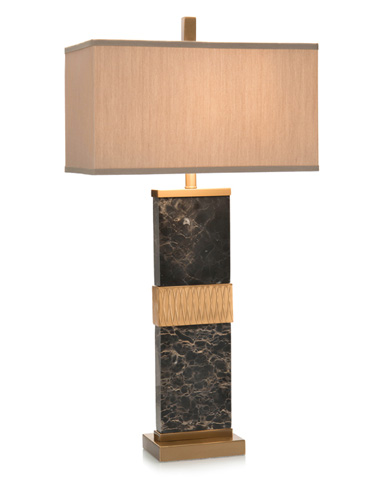 John Richard Collection - Black Marble Column Table Lamp - JRL-9163