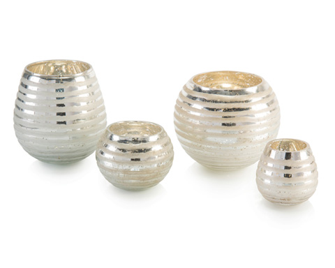 John Richard Collection - Four Ribbon Etched Round Vases - JRA-10202S4