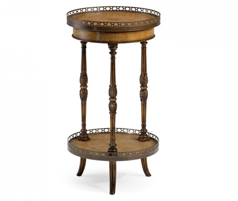 Jonathan Charles - Leather Inset Round Lamp Table - 492010