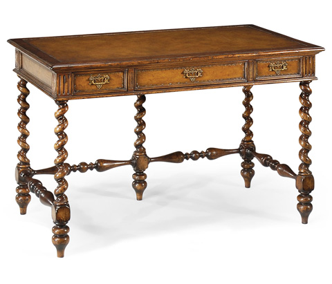 Jonathan Charles - Leather and Walnut Turned Desk - 492079