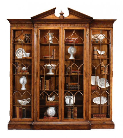 Jonathan Charles - Walnut Breakfront Triple Display Cabinet - 493073