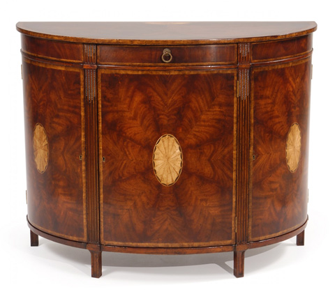 Jonathan Charles - Crotch Mahogany Demilune Sideboard with Marquetry - 493076
