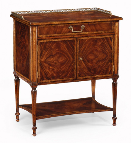 Jonathan Charles - Mahogany Bedside Table with Brass Gallery - 493090