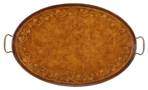 Jonathan Charles - Oval Tray with Floral Inlay - 493210