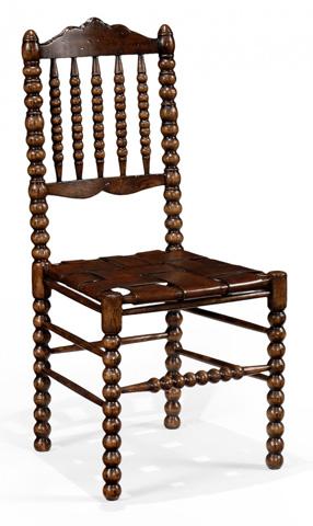 Jonathan Charles - Bobbin Dark Oak Chair with Woven Leather Seat - 493242