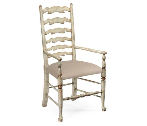 Jonathan Charles - Grey Painted Ladder Back Chair - 493268